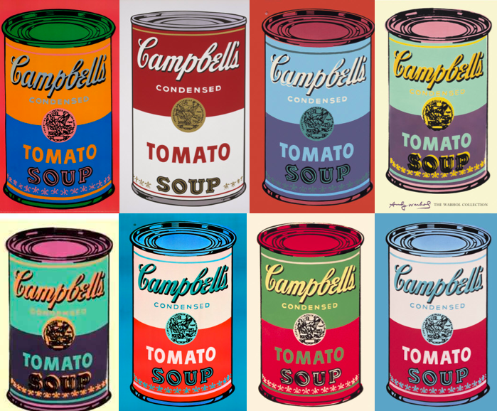 """Colored Campbell's Soup Cans"" by Andy Warhol"