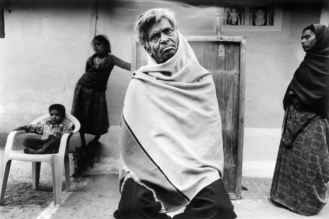INDIA. Bhopal. Gangaram had come to Bhopal to get treatment for leprosy at the Hamida Hospital. He was cured when the toxic gas hit the city. He is now, again, dependent on others for survival. 2001.