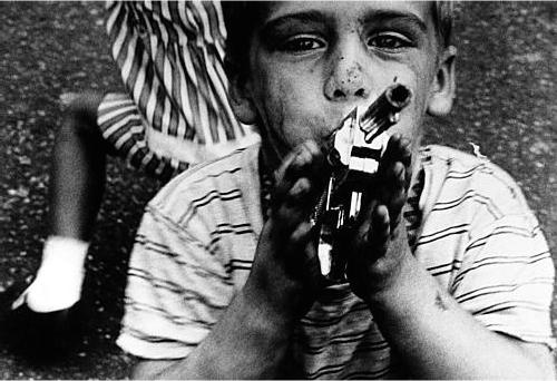 BoyGunStripedDressnewYork1955